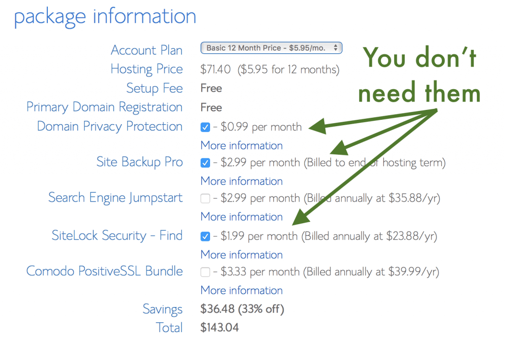 Bluehost prices