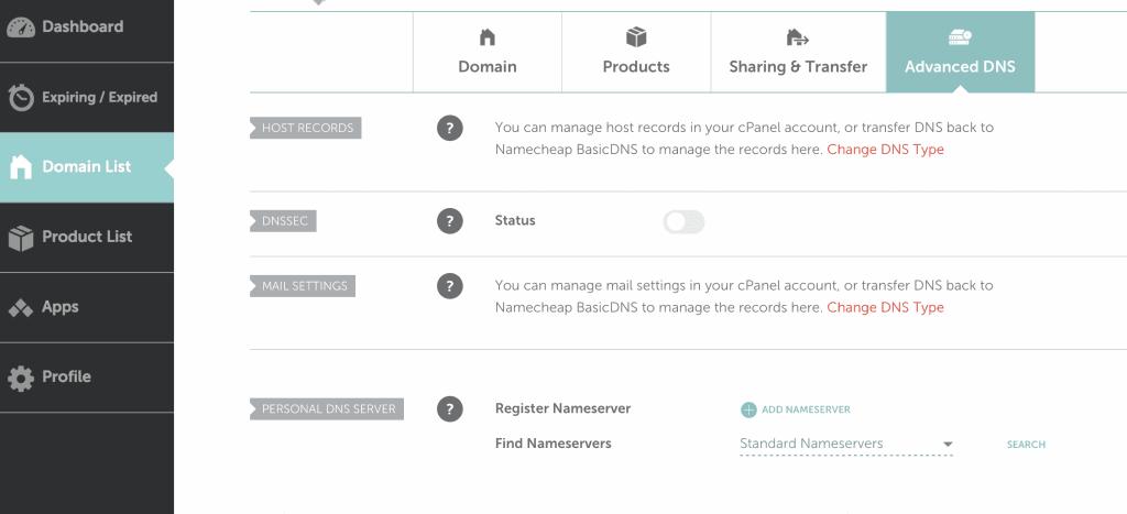 domain advanced DNS