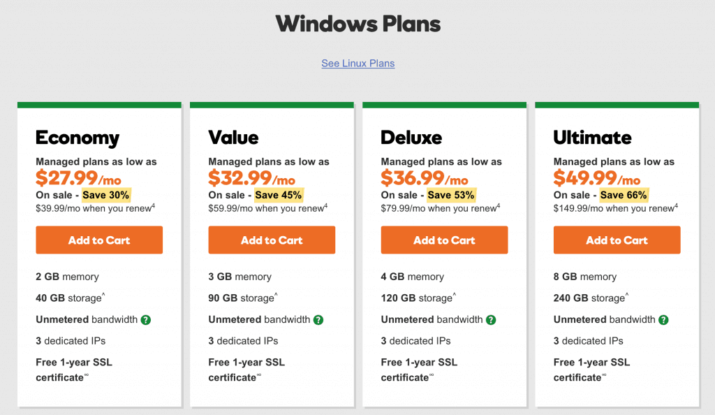 Windows VPS plans
