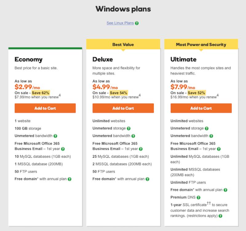 Best Windows shared hosting
