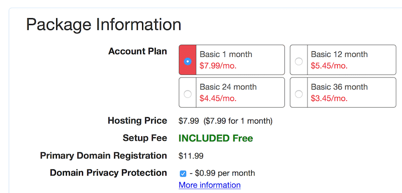 one month hosting plan