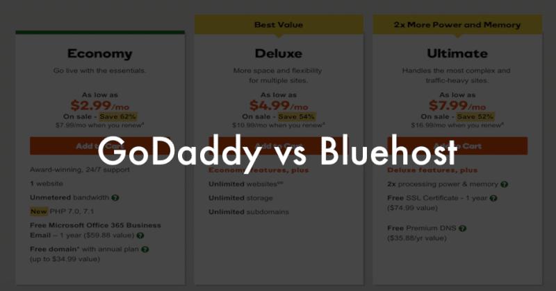 Godaddy Vs Bluehost For Wordpress Hosting And Blogs