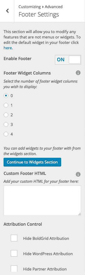 website footer customizer tool